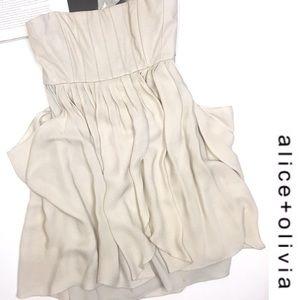 Alice + Olivia Cream Leather Strapless Dress 6